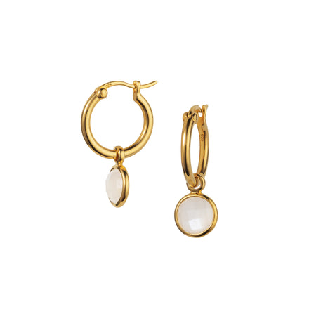 Product Shot of Gold and Moonstone Huggie Hoop Earrings