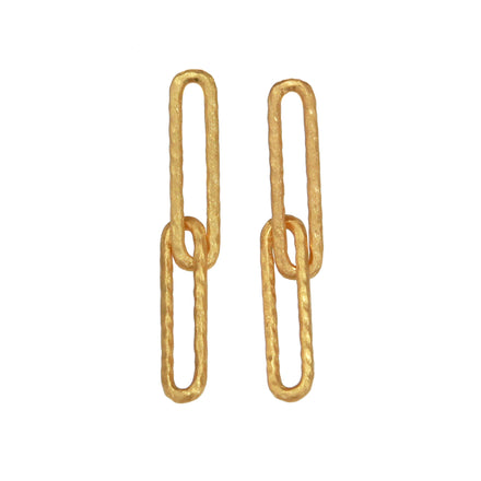 Gold Long Link Earrings
