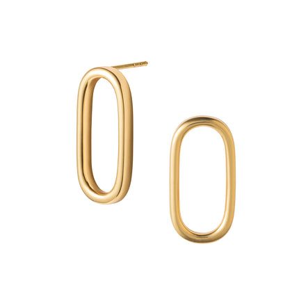 Gold Oval Hoop Stud Earrings