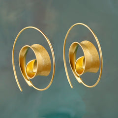 Curl Hoop Gold Earrings