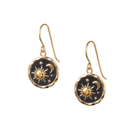 Heaven-Sent Sun & Moon Hook Earrings in Matte Gold