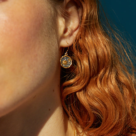 Model Photo of Heaven-Sent Sun & Moon Hook Earrings in Matte Gold