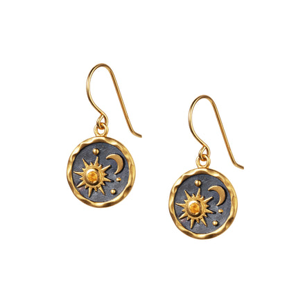 Heaven-Sent Sun & Moon Hook Earrings in Polished Gold