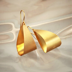 Large Pear Drop Golden Hoop Earrings