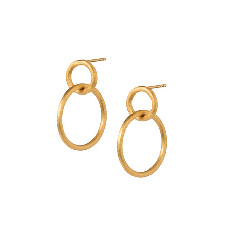 Gold Double Hoop Stud Earrings