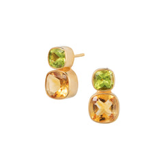 Citrine & Peridot Gold Dandelion Stud Earrings