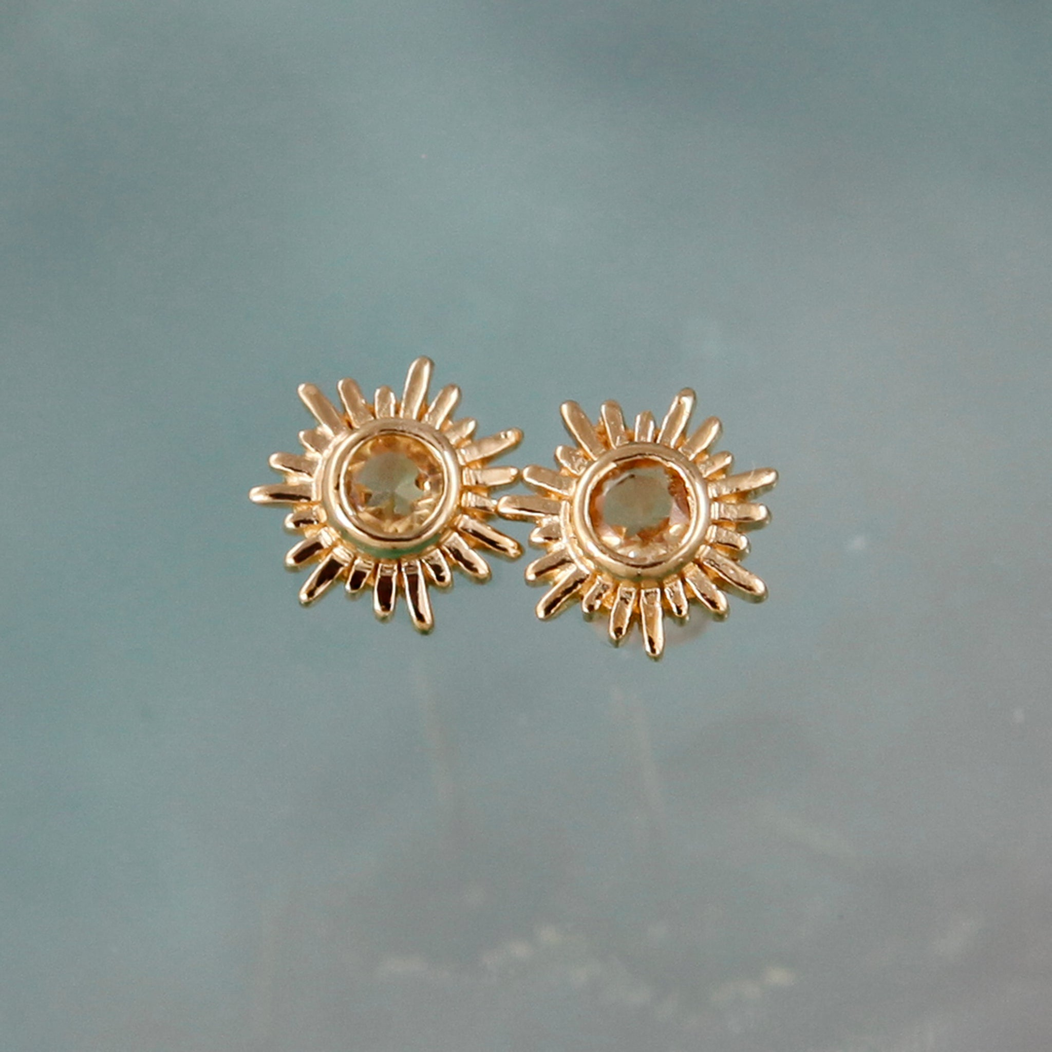 Gold and Citrine Sun Stud Earrings
