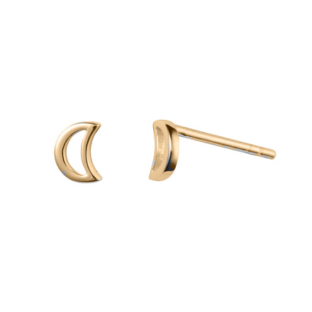 Gold Plated Silver Stud Moon Earring