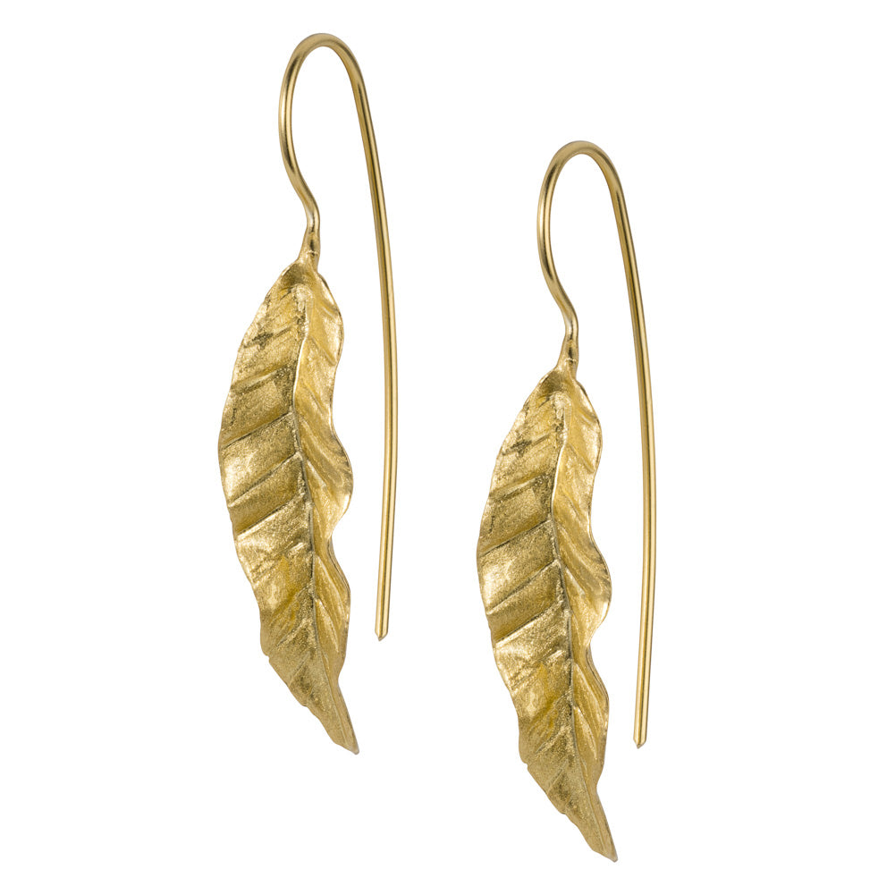 Gold plated sterling silver mid-sized leaf hook earring