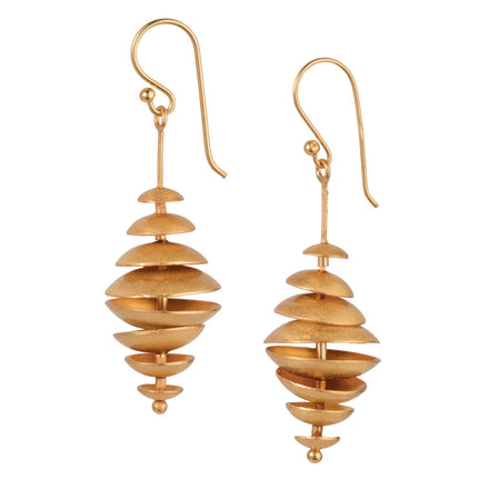 Gold Modern Long Drop Earrings