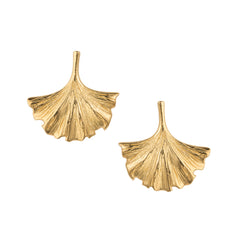 Gold Ginkgo Leaf Stud Earrings