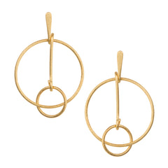 Double Circle Drop Silver Earrings