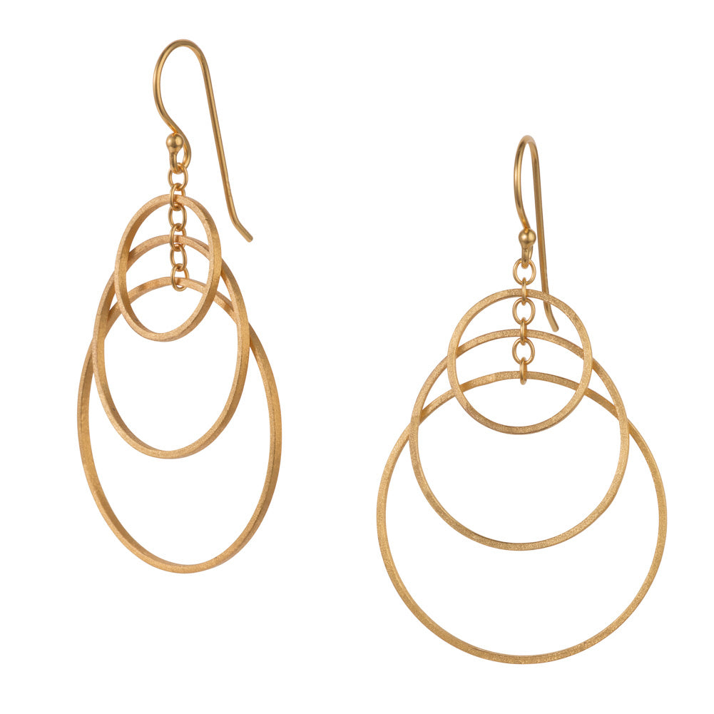 Gold Three Hoop Hook Earrings