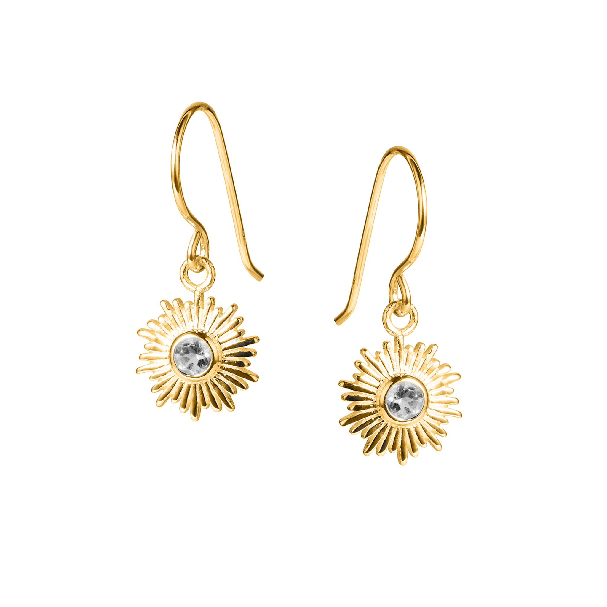 Gold and White Topaz Sun Earrings