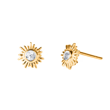 Gold and White Topaz Sun Stud Earrings