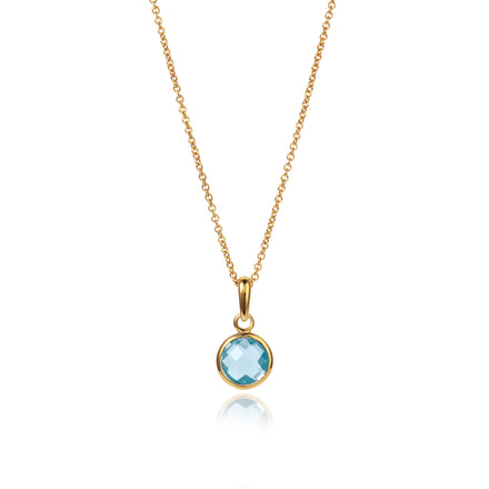 Product Shot of Gold and Blue Topaz Maya Pendant