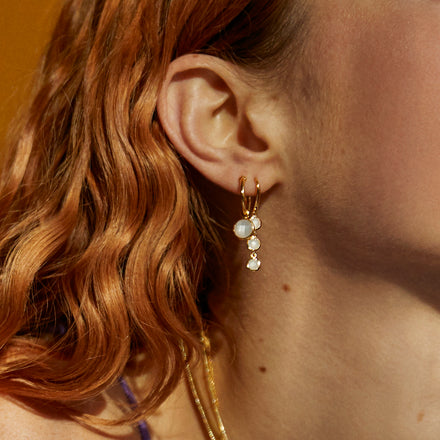 Model Wearing Gold and Blue Topaz Triple Drop Earrings