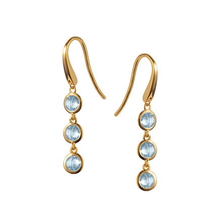 Image of Gold and Blue Topaz Triple Drop Earrings