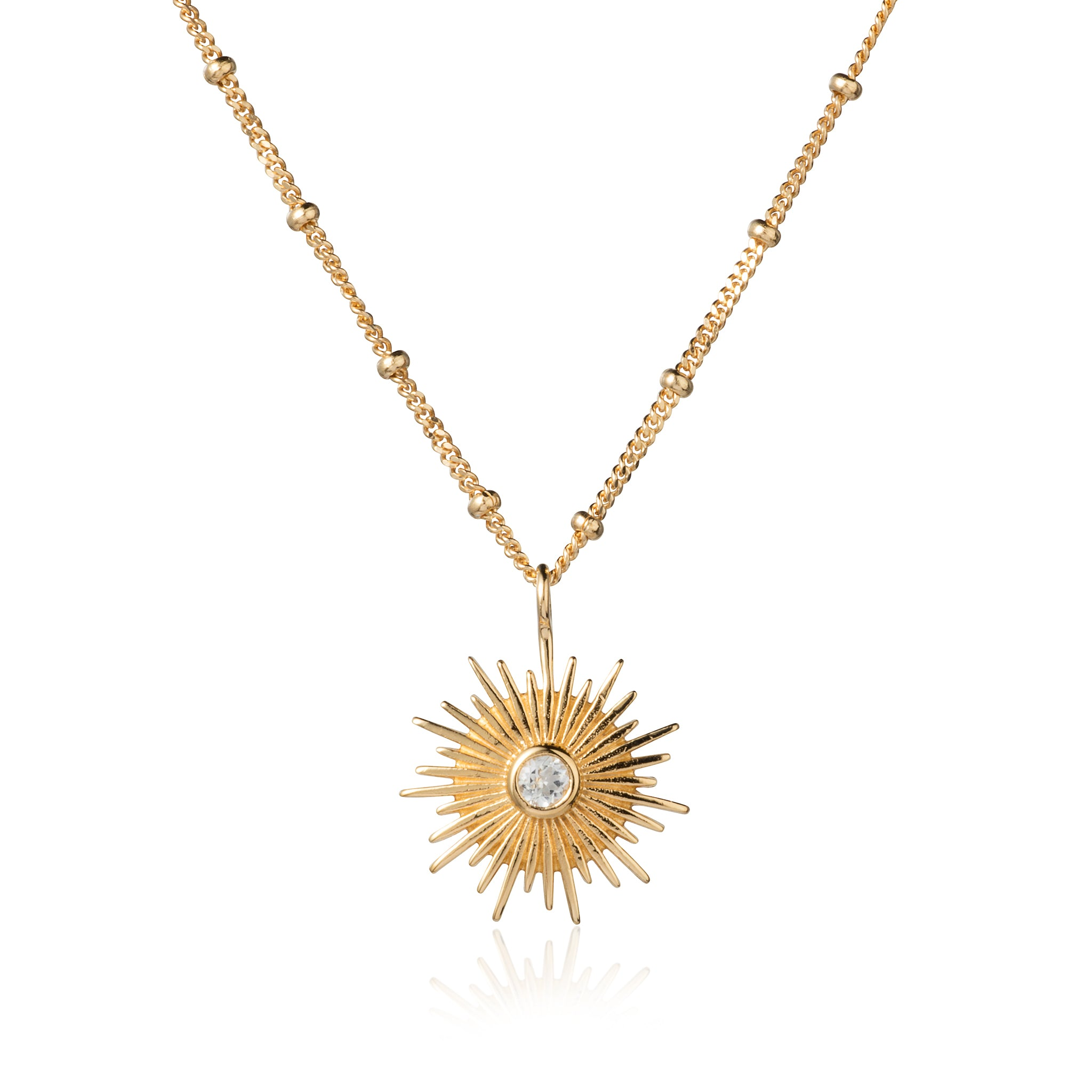 Gold and White Topaz Sun Necklace