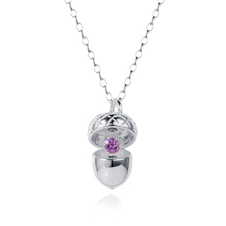Silver Acorn Locket with Amethyst - February