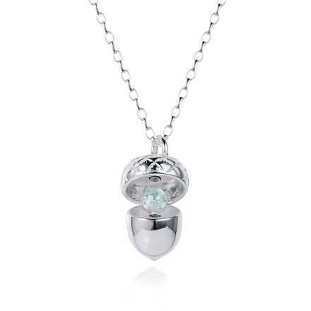 Silver Acorn Locket with Aquamarine - March