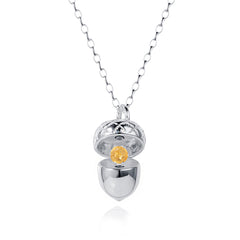 Silver Acorn Locket with Citrine - November