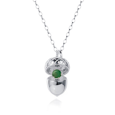 Shot of Silver Acorn Pendant with May Emerald Birthstone