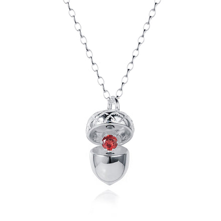 Silver Acorn Locket with Garnet - January