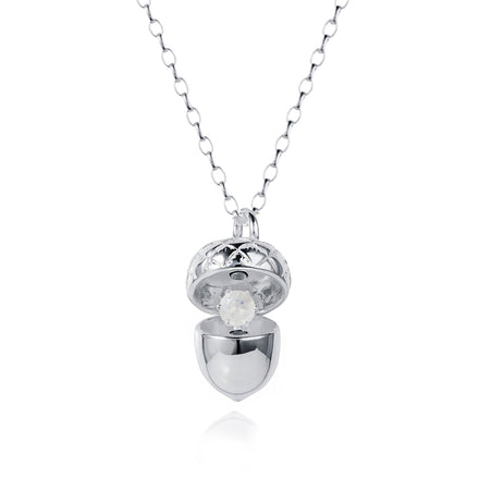 Silver Acorn Pendant With June Birthstone