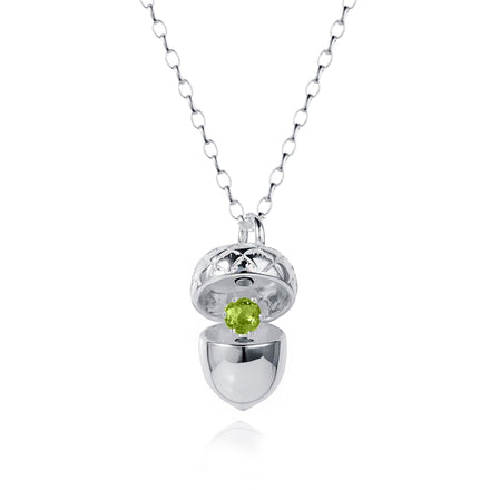 Silver Acorn Locket with Peridot - August