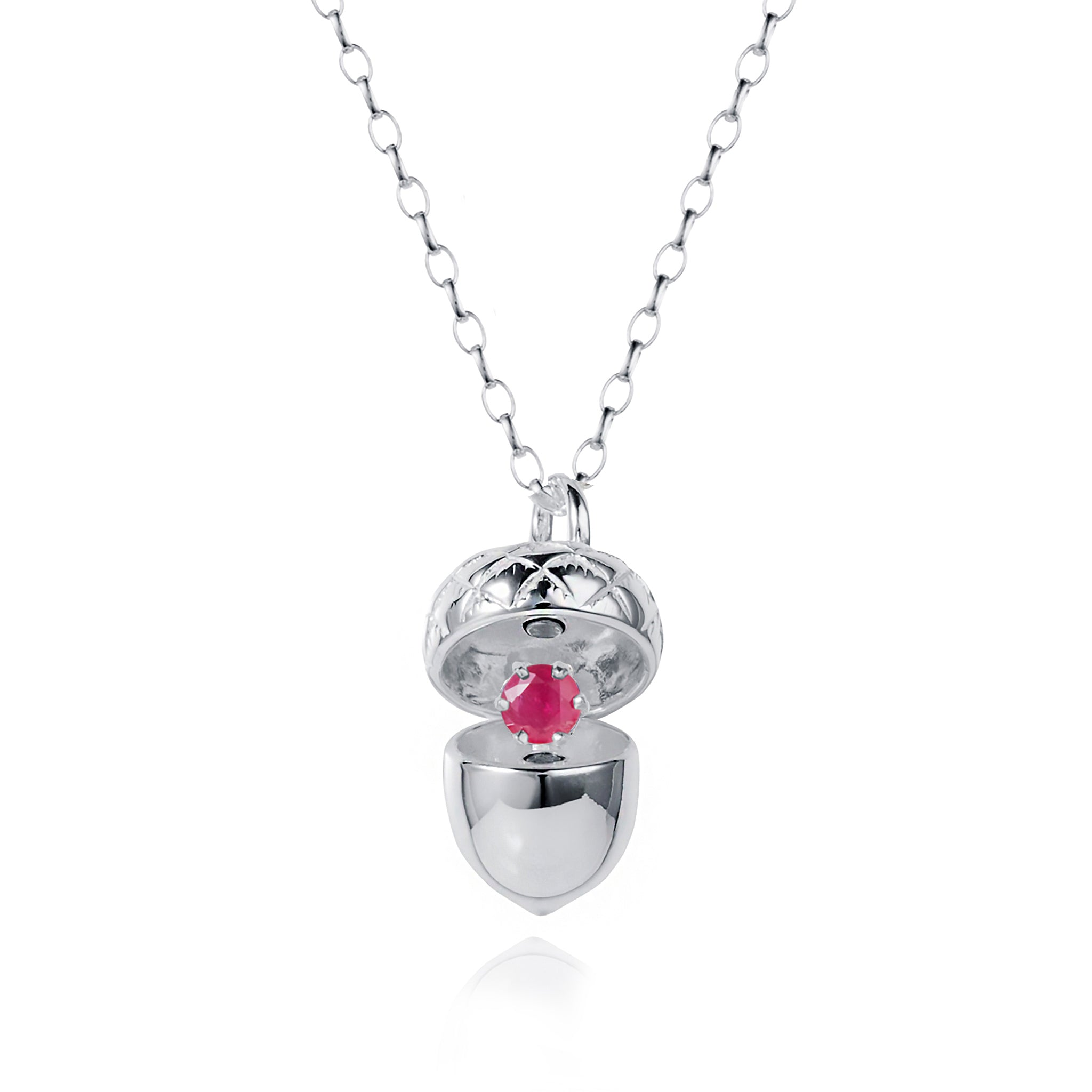 Silver Acorn Locket with Ruby - July