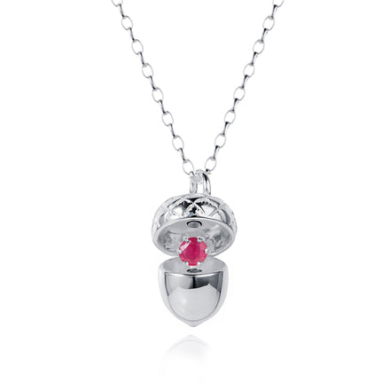 Photo of Silver Acorn Pendant With July Ruby Birthstone