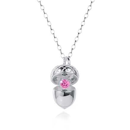 Image of Image of Silver Acorn Pendant With October Pink Tourmaline Birthstone