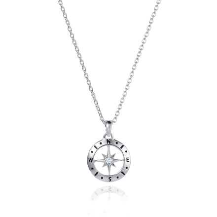 Silver Compass Necklace With April Birthstone