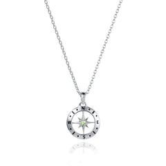 August Love's Compass Birthstone Silver & Peridot Necklace