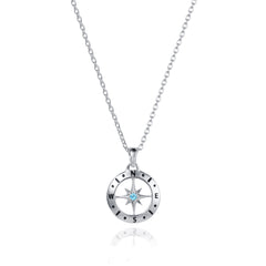 Silver Compass Necklace with December Birthstone