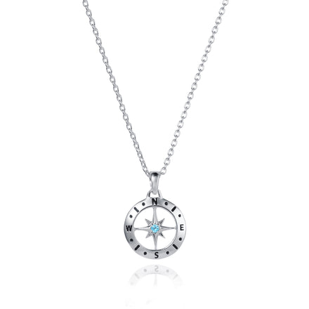Photo of Silver Compass Necklace with December Blue Topaz Birthstone