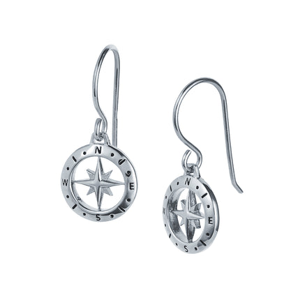 Love's Compass Silver Earrings