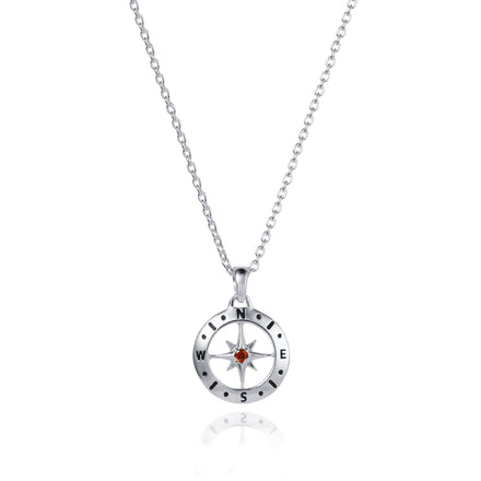Image of Silver Compass Necklace with January Garnet Birthstone