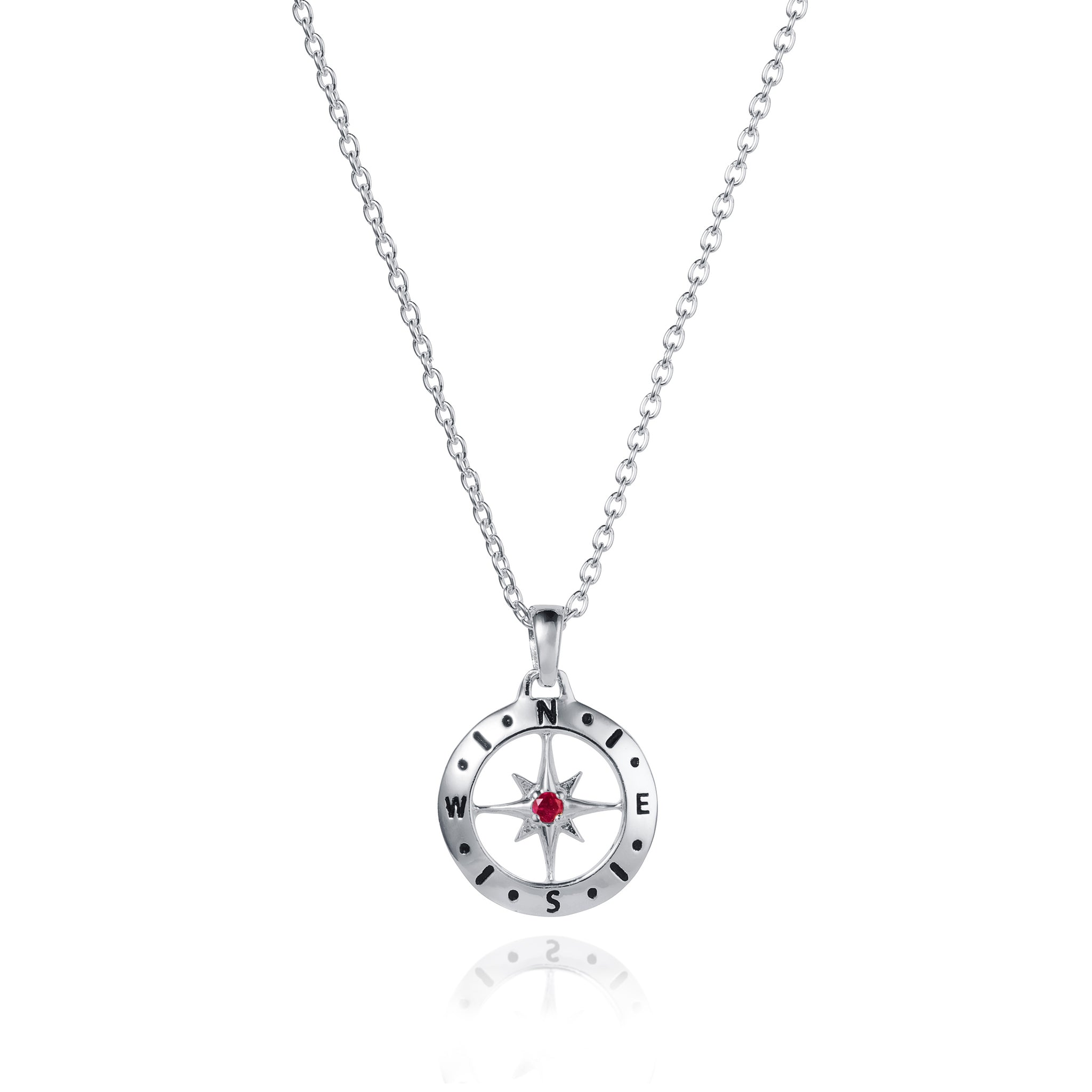 July Love's Compass Birthstone Silver & Ruby Necklace