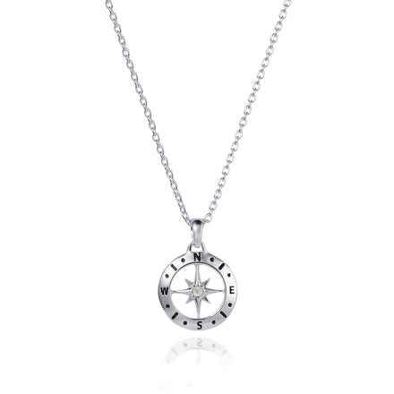 Silver Compass Necklace with June Birthstone