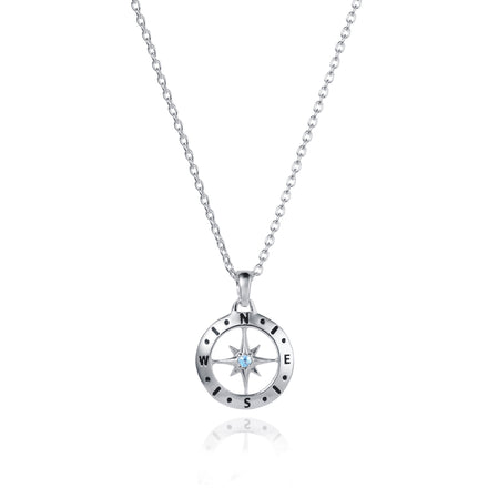 Photo of Silver Compass Necklace With March Aquamarine Birthstone