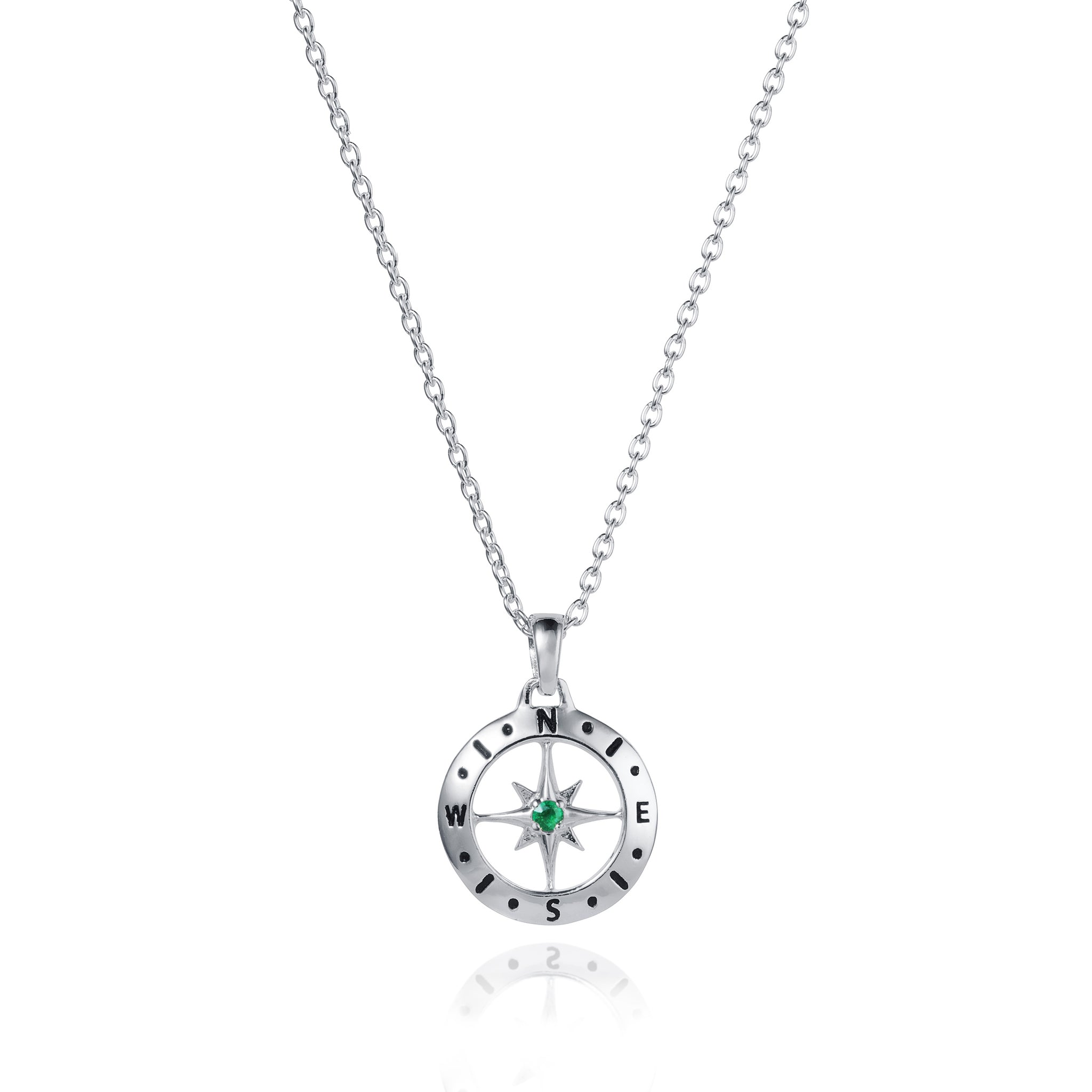 May Love's Compass Birthstone Silver & Emerald Necklace