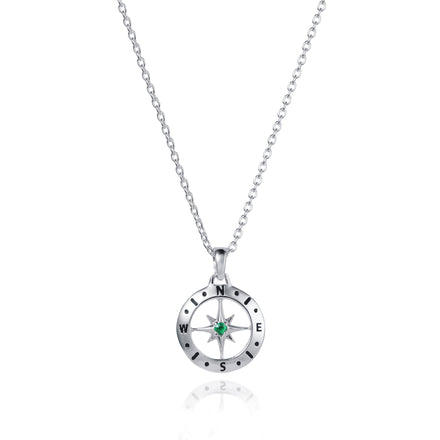 Image of Silver Compass Necklace With May Emerald Birthstone