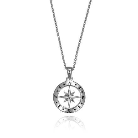 Photo of Reverse Side of Silver Compass Necklace with October Tourmaline Birthstone