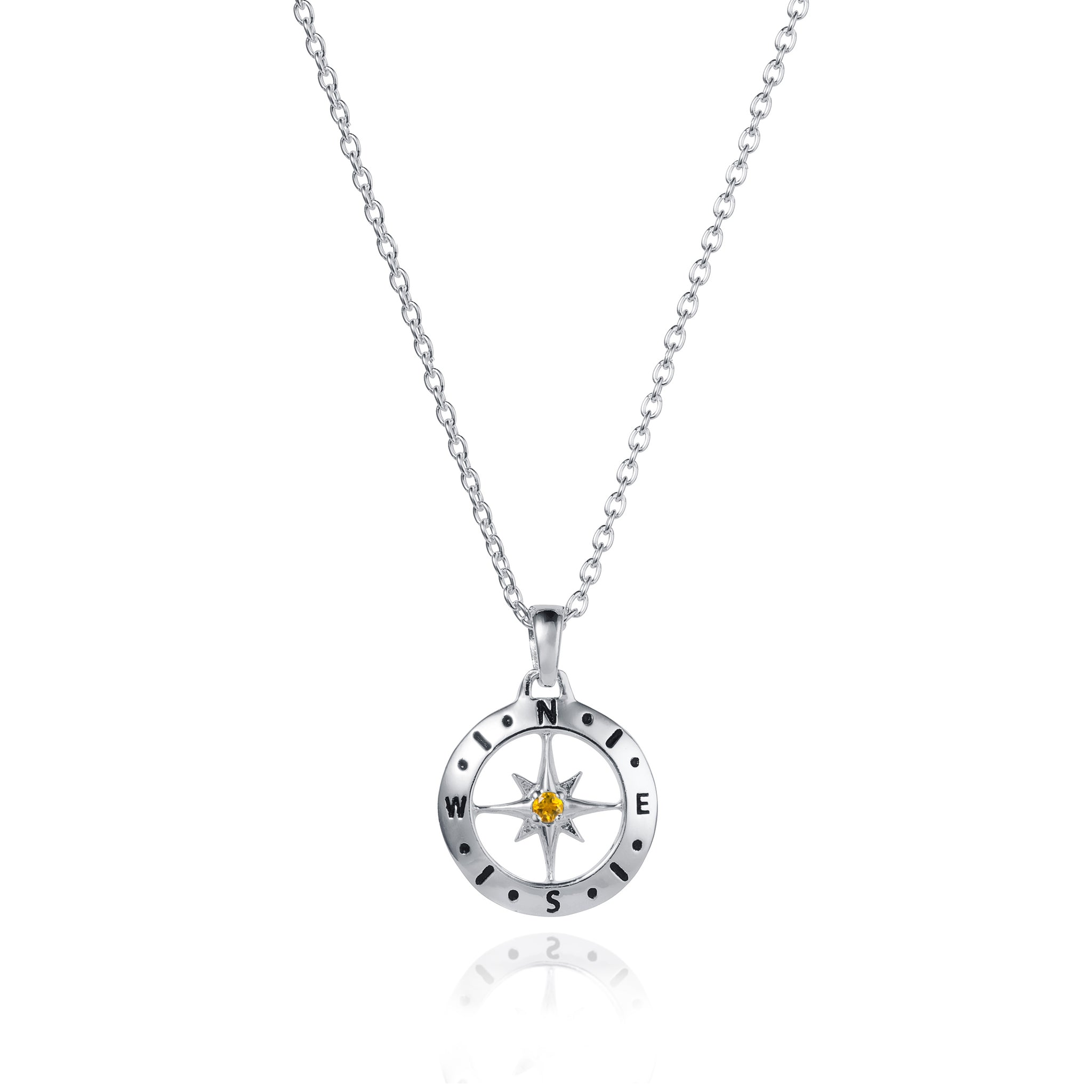 Silver Compass Necklace with November Birthstone