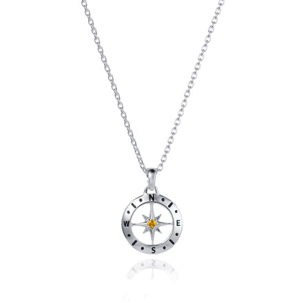 November Love's Compass Birthstone Silver & Citrine Necklace