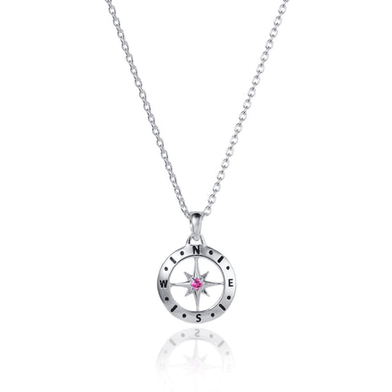 Silver Compass Necklace with October Birthstone