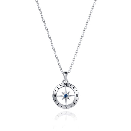 Silver Compass Necklace with September Birthstone