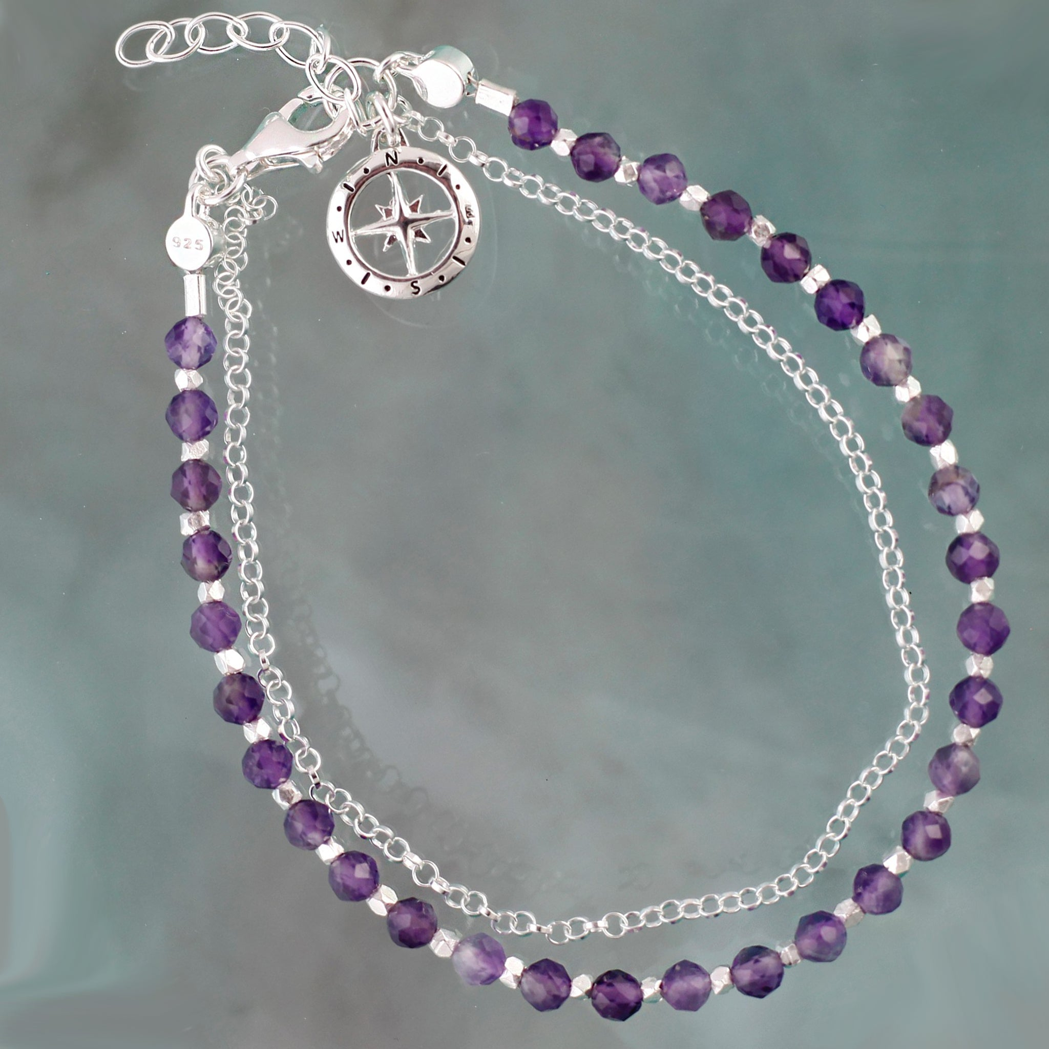 Friendship Bracelet in Silver with Amethyst